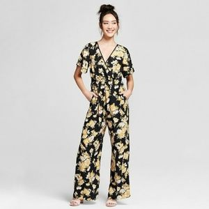 [Xhilaration] Floral Double V Tassel Jumpsuit